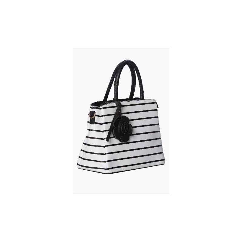 sac main marin noir et blanc avec fleur pin up addict. Black Bedroom Furniture Sets. Home Design Ideas