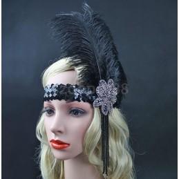 Headband noir à plumes