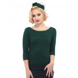 Pull Bardot vert